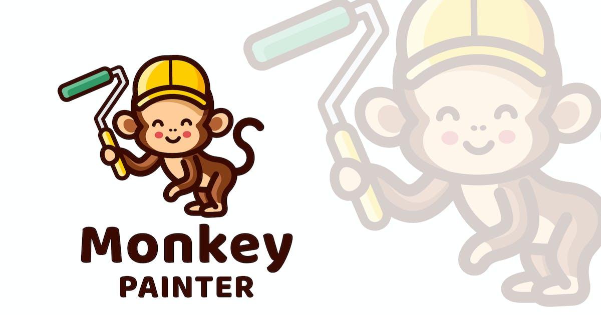 Download Monkey Painter Cute Logo Template by IanMikraz