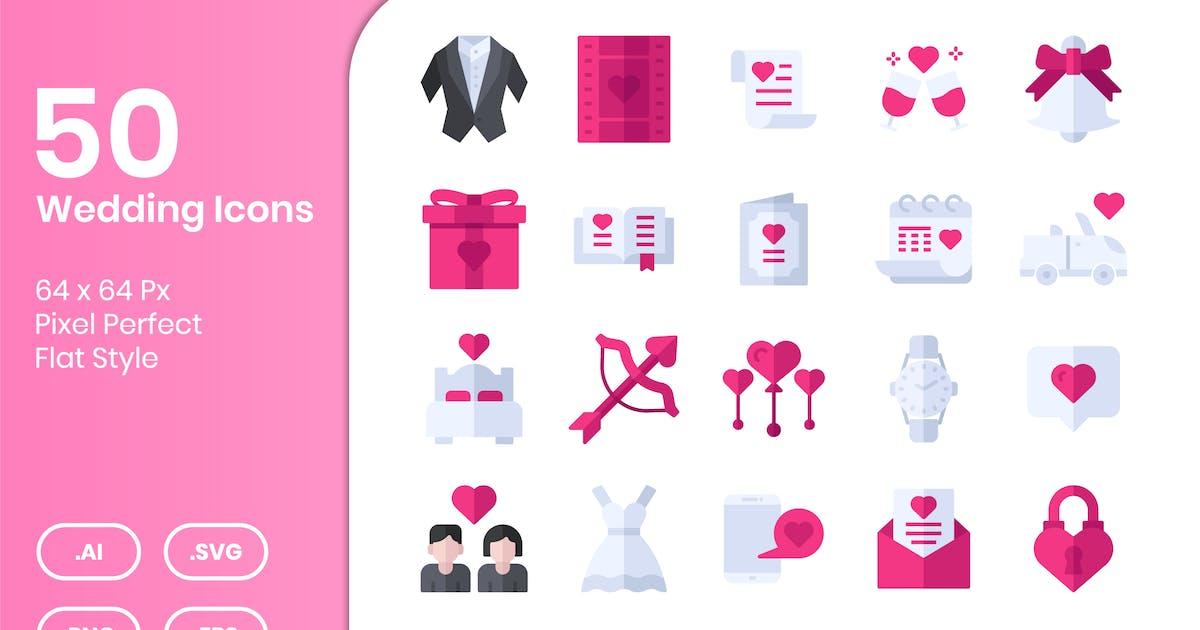 Download 50 Wedding Icons Set - Flat by kmgdesignid