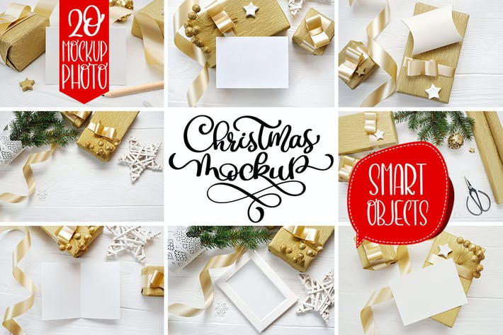 Cover Image For Christmas background mock ups with smart object
