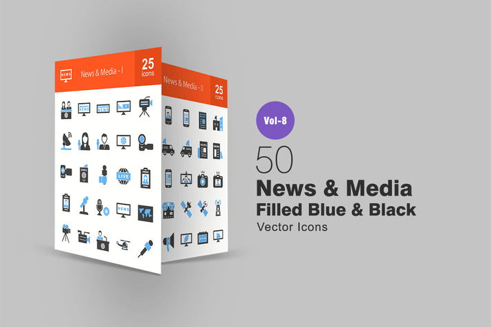 Thumbnail for 50 News & Media Blue & Black Icons