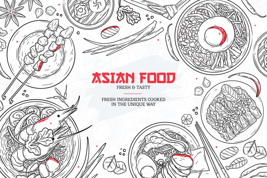 Hand Drawn Asian Restaurant Menu