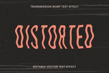 Editable distorted text effect template