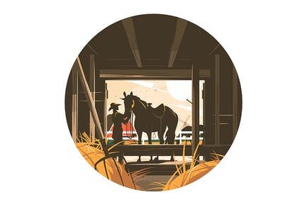 Farm Stable with Horse