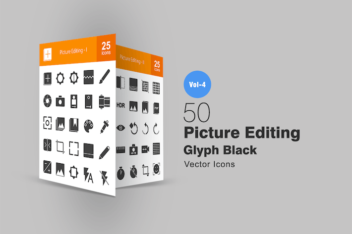 Thumbnail for 50 Picture Editing Glyph Icons