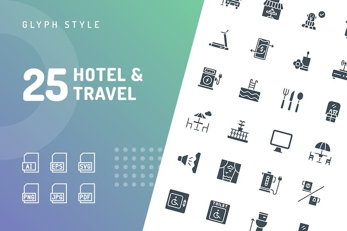 Thumbnail for Hotel & Travel Glyph Icons