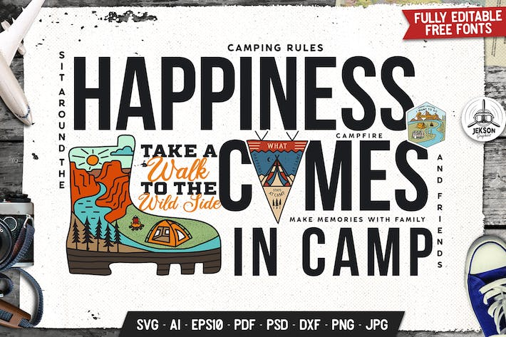 Thumbnail for Happiness Is Camp Badge Vector Retro Graphic Logo