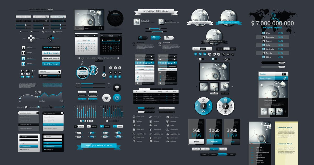 infographics element with Vector GUI Template by fet