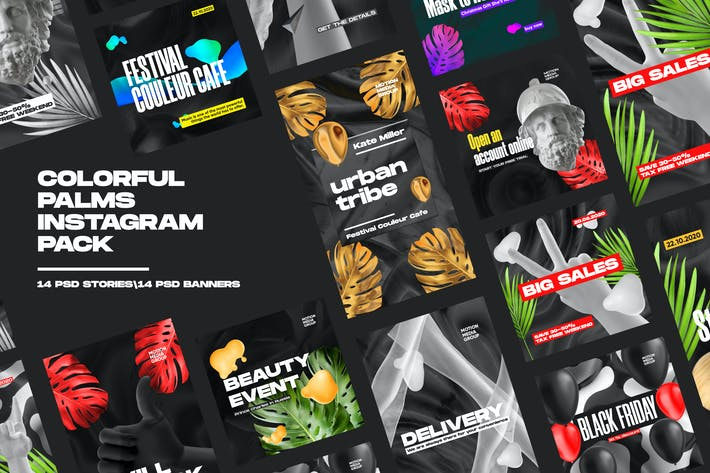 Thumbnail for Colorful Palms Instagram Pack