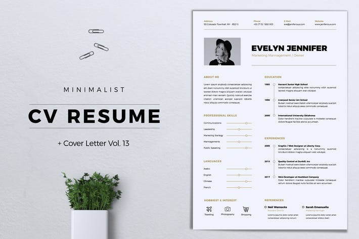 Thumbnail for Minimalist CV Resume Vol. 13