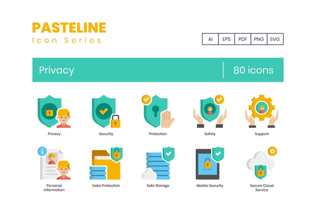 80 Privacy Icons - Pasteline Series