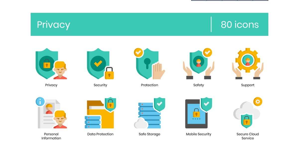 Download 80 Privacy Icons - Pasteline Series by Krafted