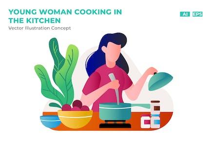 mujer joven cocina en el cocina plana Vector