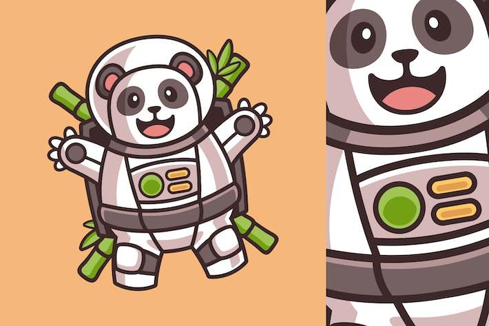 Süßer Panda schwebt im Astronauten-Kostüm-Cartoon