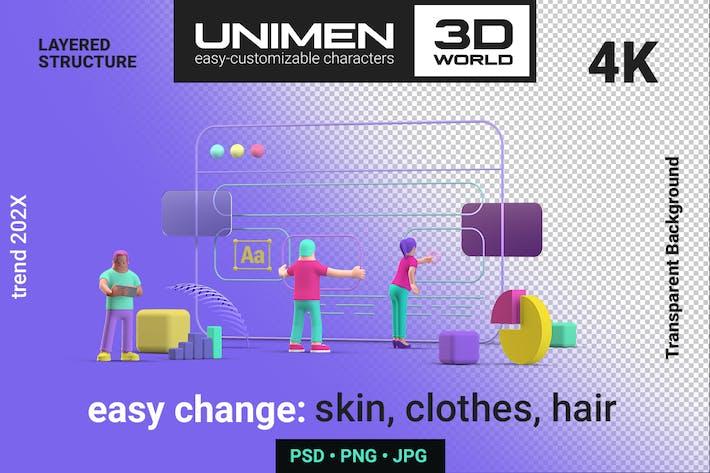 3D Ui UX Design Web Browser scene illustration