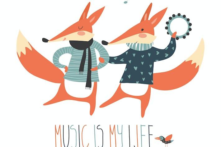Thumbnail for Cute cartoon fox. Cheerful dancing foxes