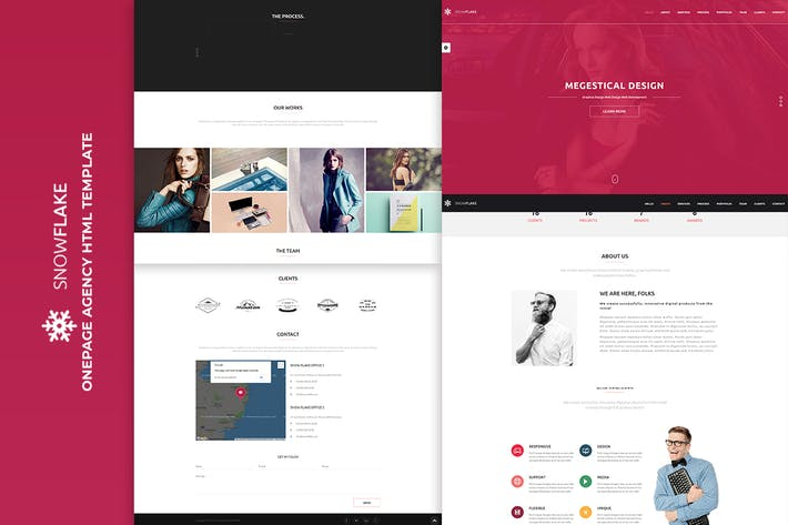 Cover Image For SNOWFLAKE | Onepage Agency HTML Template