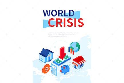 Weltkrise - bunte isometrische WebBanner