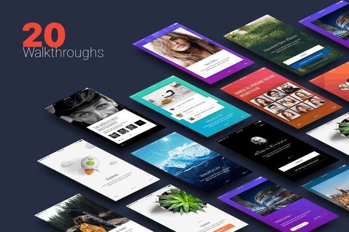 Thumbnail for Walkthroughs - Mobile Template UI kit