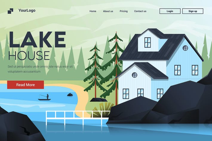 Thumbnail for Flat Modern design Illustration of Mountain House