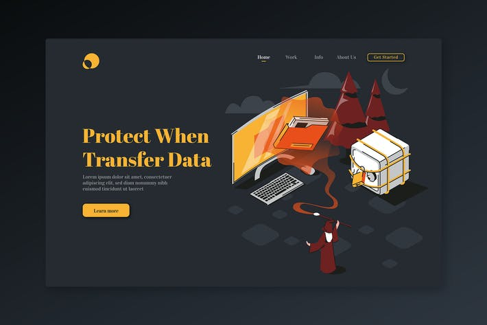Thumbnail for Protect When Transfer Data-Isometric Landing Page