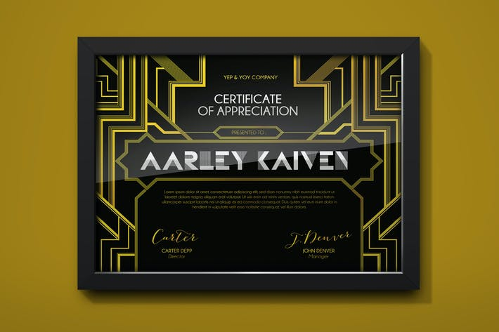 Cover Image For Art Deco Certificate