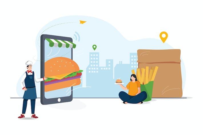 Thumbnail for Illustration de commande de livraison de nourriture