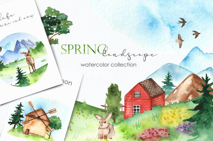 Thumbnail for Watercolor spring landscape Clipart