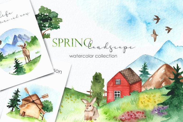 Aquarell Frühling Landschaft Clipart