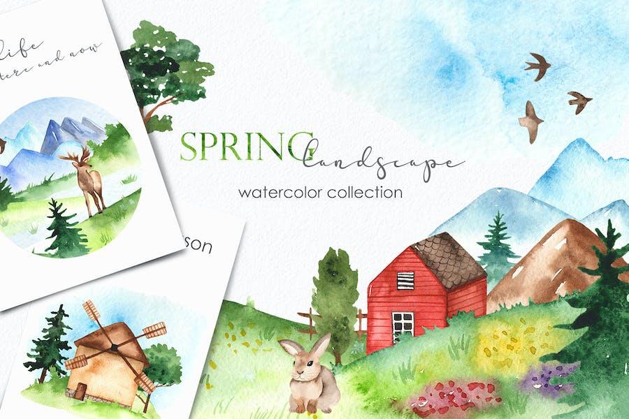 Watercolor spring landscape Clipart