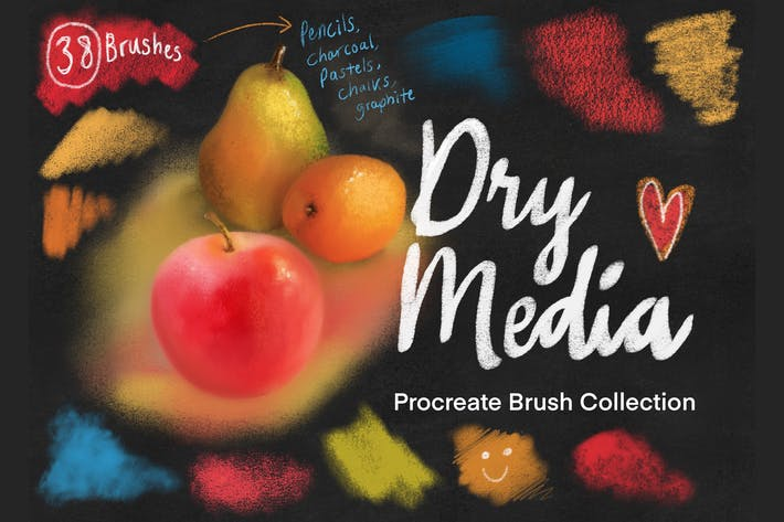 Dry Media Pro Charcoal and Chalk Procreate Brushes