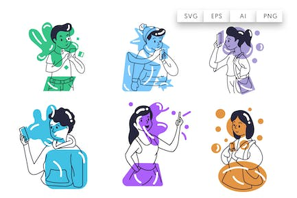 Character talking on the phone - flat illustration