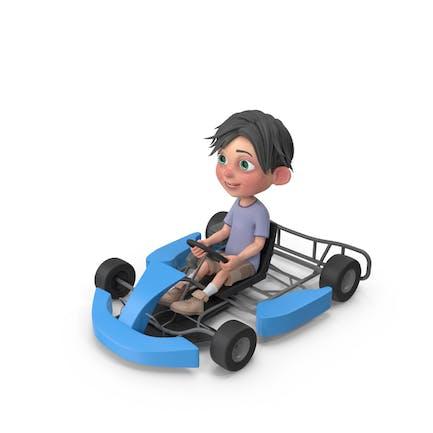 Cartoon Junge Jack fahren Go Warenkorb