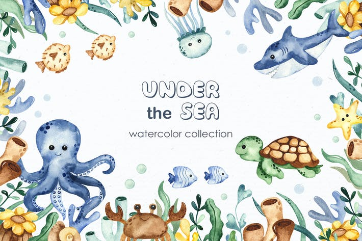 Thumbnail for Watercolor Under the sea Clipart