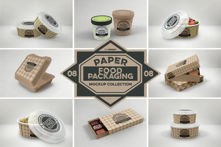 Thumbnail for Paper Food Box Packaging Mockups Vol. 08