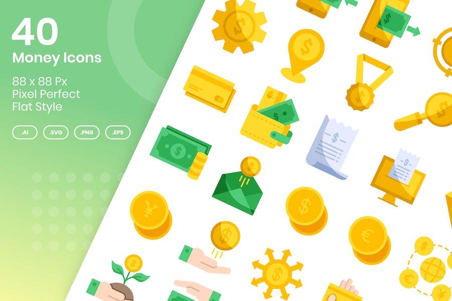 40 Geld-Icons Set - flach