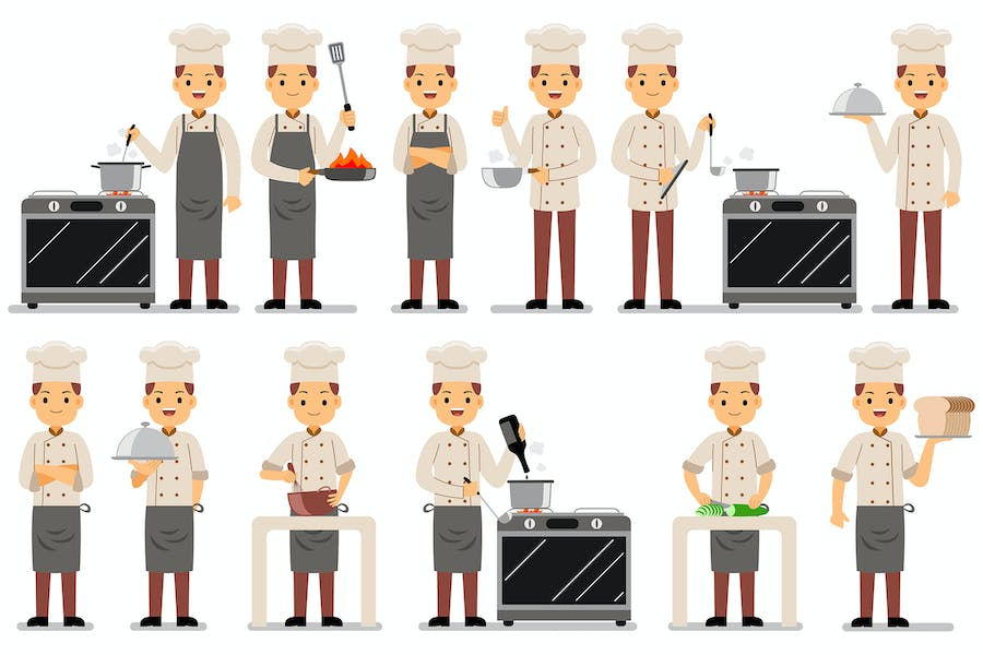 Chef Profession Characters Set