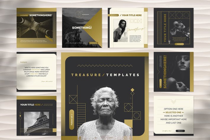 Golden Social Media Templates