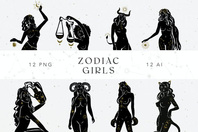 12 Zodiac Sign Celestial Girls