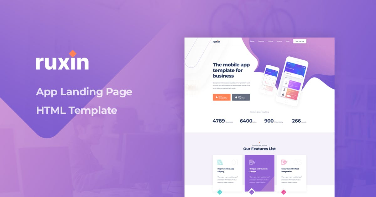 Download Ruxin - App Landing Page HTML Template by Layerdrops