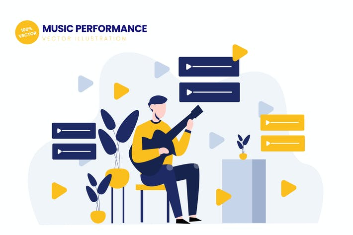 Thumbnail for Music Performance Flat Vector Illustration
