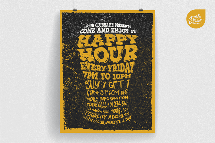 Thumbnail for Happy Hour Typography Flyer