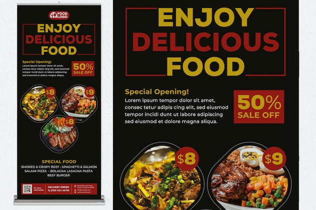 Enjoy Delicious Food Roll Up Banner