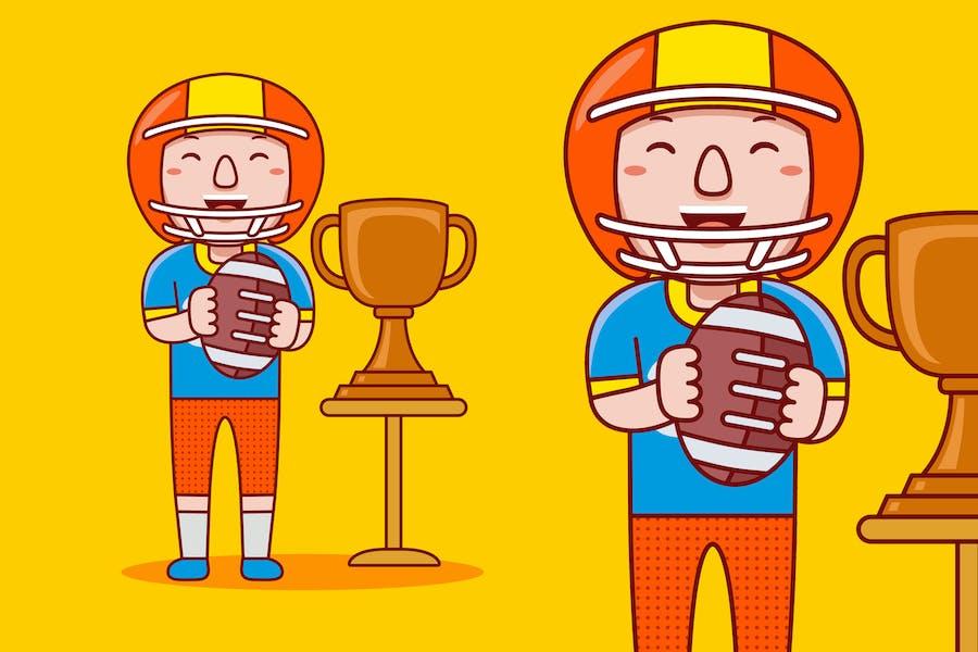 American Football Spieler Beruf Cartoon Vektor