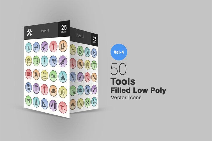 Thumbnail for 50 Tools Filled Low Poly Icons