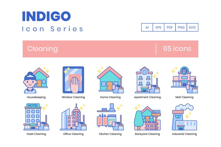 Thumbnail for 65 Cleaning Icons | Indigo Series