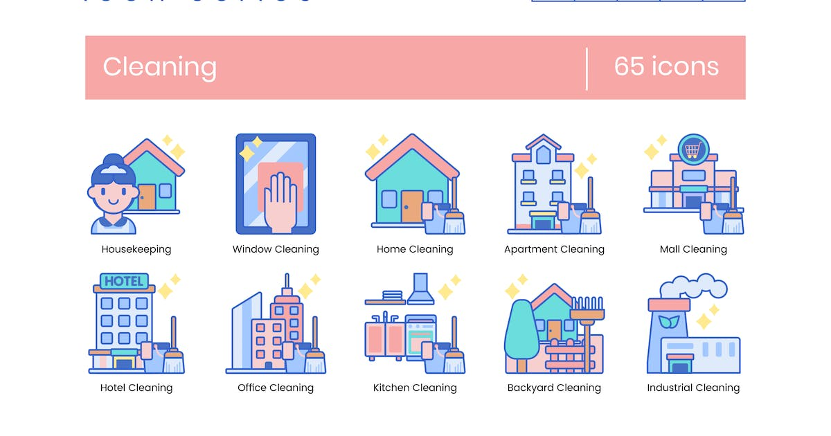 65 Cleaning Icons | Indigo Series by Krafted