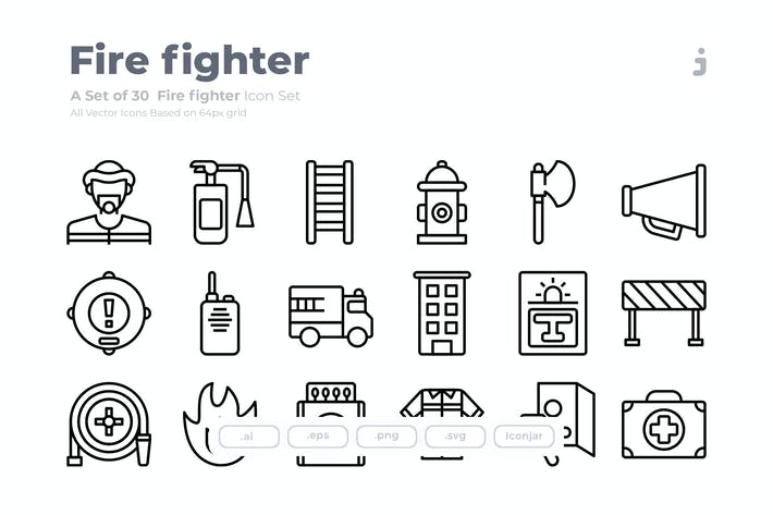 Thumbnail for 30 Fire fighter Icons - Outliner