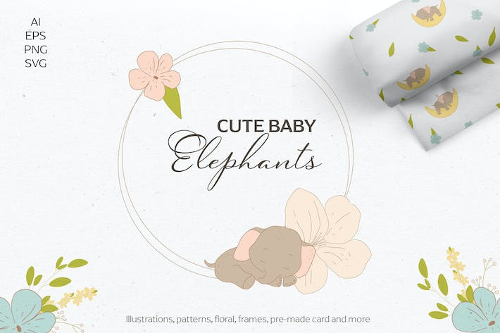 Thumbnail for Baby shower elephants, svg