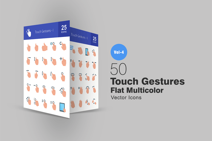 Thumbnail for 50 Touch Gestures Flat Multicolor Icons