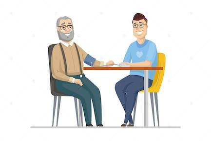 Senior man measuring blood pressure - illustration